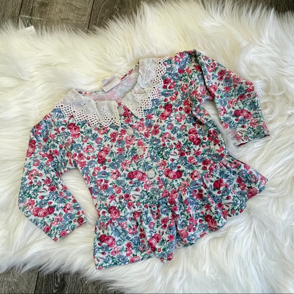 Vintage girl floral blouse lace peplum USA prairie